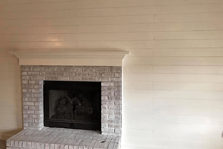 Interior Fireplace Painting with Shiplap | R Contracting Services - Home Remodeling and Renovations - Creating Curb Appeal Around Atlanta
